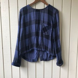 Anthropologie Cloth & Stone Plaid Lace Up Back Top